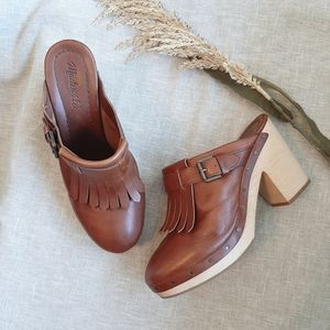 Madewell Brown Classic Kiltie wooden Clogs